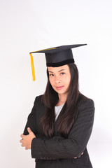 Portrait Female graduate pace on isolated background