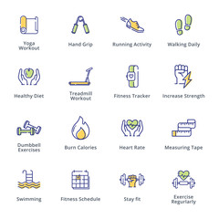 Fitness Activities Icons - Outline Series