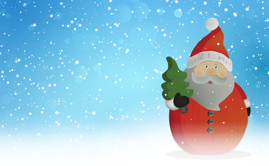 Santa Claus with Christmas tree, decoration with snowflakes background