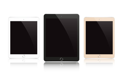 Vector modern electrical black, white and gold tablet.
