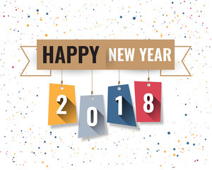 Greeting card design template with Modern Text for 2018 New Year of the Dog. Color number 2018 drawn lettering on colorful background. Vector illustration.