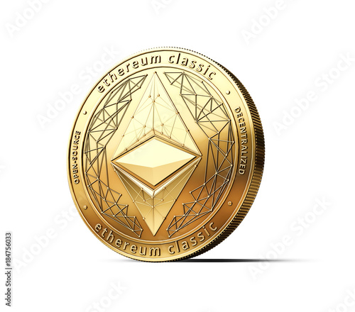 Golden Ethereum Classic ETC cryptocurrency physical concept