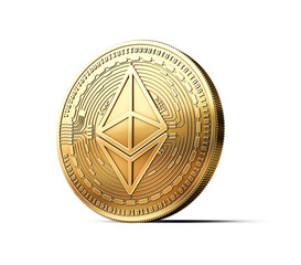 Golden Ethereum ETH cryptocurrency physical concept coin isolated on white background. 3D rendering