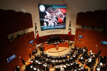 General view shows the Senate during a discussion of the Law of Internal Security, in Mexico City