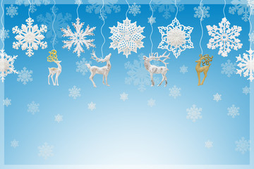 Christmas and New Year decorations: snowflakes and reindeers on blue background.