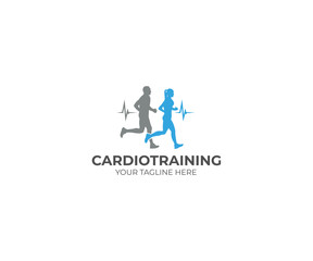Running Cardio Training Logo Template. Athletes Vector Design. Sport illustration