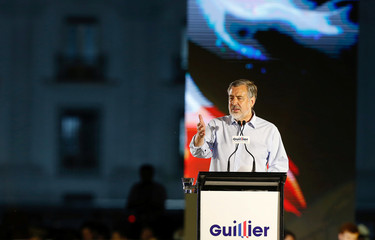 Chilean presidential candidate Alejandro Guillier delivers a speech during his closing campaign rally in Santiago.
