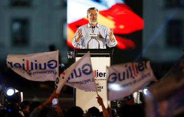 Chilean presidential candidate Alejandro Guillier delivers a speech during his campaign closing rally in Santiago, Chile