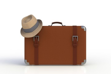Suitcase of a traveler with  straw hat isolated on white background, 3D rendering