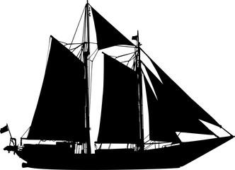 帆をピンと張った船のシルエット