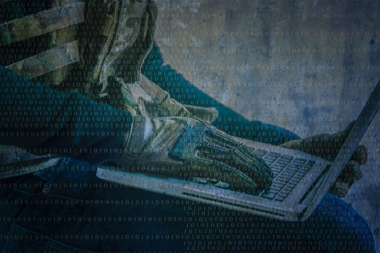 Terrorist is hacker in the dark breaks the access to steal information and infect computers and systems.