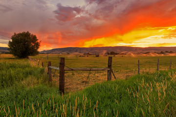 Sunset in a rural valley, Utah, USA.
