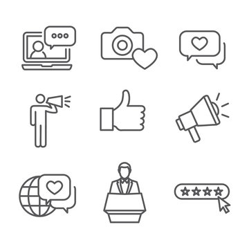 Brand Ambassador Thin Line Outline Icon Set with Megaphone, Influencer Marketing Person & Representative