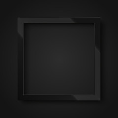 Realistic square shiny black frame for your design, poster or greeting card. Vector