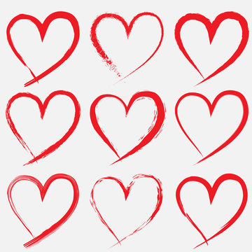 set of Valentine heart isolated hand drawn vector icon sketch for Valentines day design. Heart drawing marker or felt-tip pen on white background. Wedding birthday love element symbol.