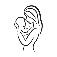 Mother and her baby symbol