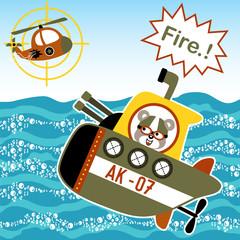 Sea war cartoon with submarine
