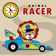 Car racing cartoon vector