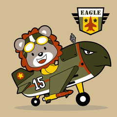 Fighter jet cartoon with funny pilot