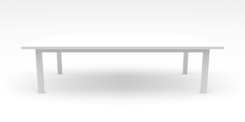 White table template with realistic shadow, 3d, vector illustrat