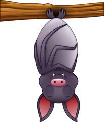 Cute bat cartoon sleeping hanging on tree