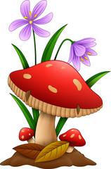 Cartoon mushroom isolated white background