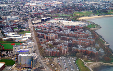 Aerial view of urban view of Boston near the sea
