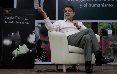 "Sergio Ramirez, Nicaraguan writer and winner of the ""Premio Cervantes"" Literature Award, speaks during the presentation of his latest novel ""Ya nadie llora por mi"" in Managua, Nicaragua"