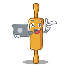 With laptop rolling pin character cartoon