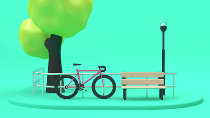 pink bicycle tree green parks transportation environment concept 3d rendering cartoon style