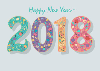 Happy New Year 2018. Floral Number. Coloful numerals with decor of graceful flowers and watercolor blurs. Vector Illustration