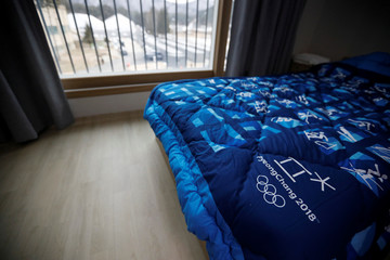 A bedroom in the Olympic Village is pictured in Pyeongchang