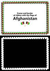 Frame and border of ribbon with the Afghanistan flag for diplomas, congratulations, certificates. Alpha channel. 3d illustration