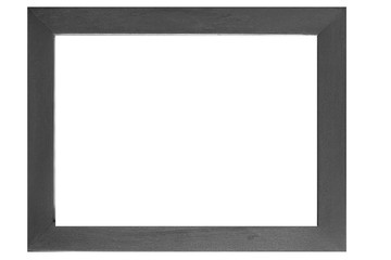 Black wood photo frame isolated on a white background