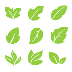 Leaves icon.Leaf logo. Green and nature symbol. Organic icons.