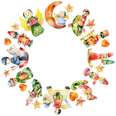 New Year's, Christmas wreath of Christmas decorations, toys, figurines. Watercolor. Illustration