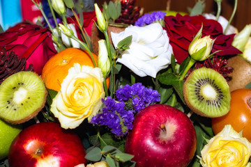 Original beautiful Bouquet of flowers and fruit