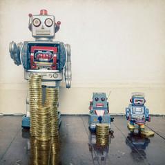 two retro robots money