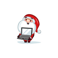 Christmas Vectors - Santa Claus Holding a Laptop