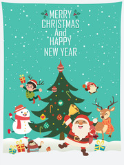 Vintage Christmas poster design with vector Santa Claus, elf, snowman, penguin, reindeer  characters.