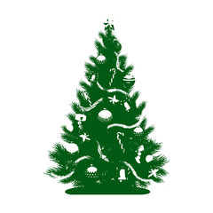 Green Silhouette of a Christmas tree with toys and a star, on white background