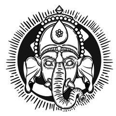 Vector illustration of Ganesha. Hindu god elephant Ganesha. Lineart.