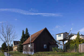 buildings and huts with details in rural countryside