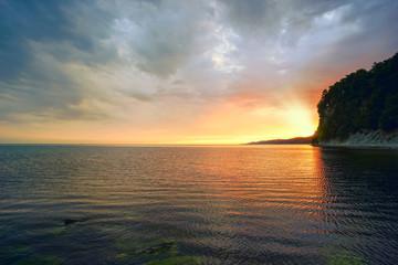 Evening landscape of the sea.