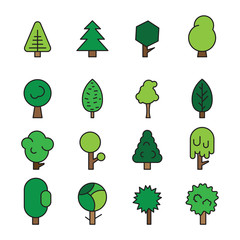 Set forest trees, evergreens coniferous trees and pine on white background