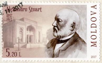 MOLDOVA - 2017: shows Alexandru Stuart (1842-1917), scientist, biologist, museographer