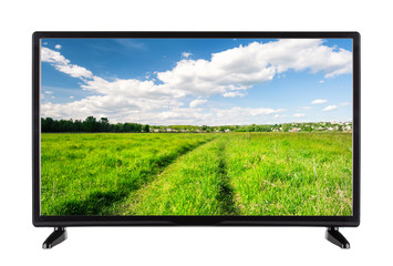 Flat high definition TV with a country road on the screen