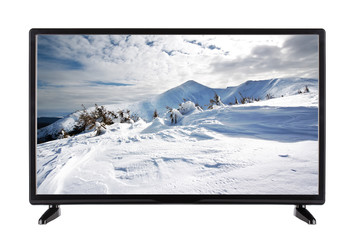 Flat-screen TV with high resolution and winter landscape on it