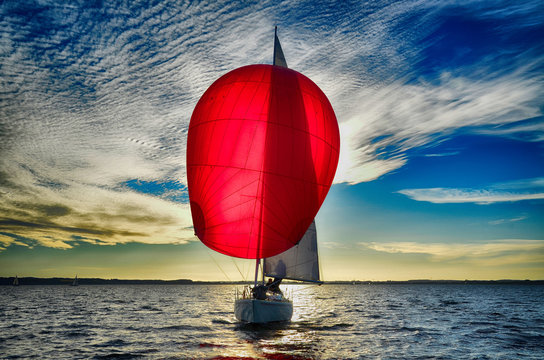Segel, rot, Himmel, wolken, spinnaker, Sonnenuntergang, Natur