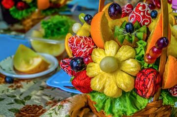 Fruit bouquet decoration on the dining table, fruit bouquet